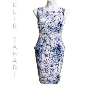Elie Tahari Blue and White Lined Dress